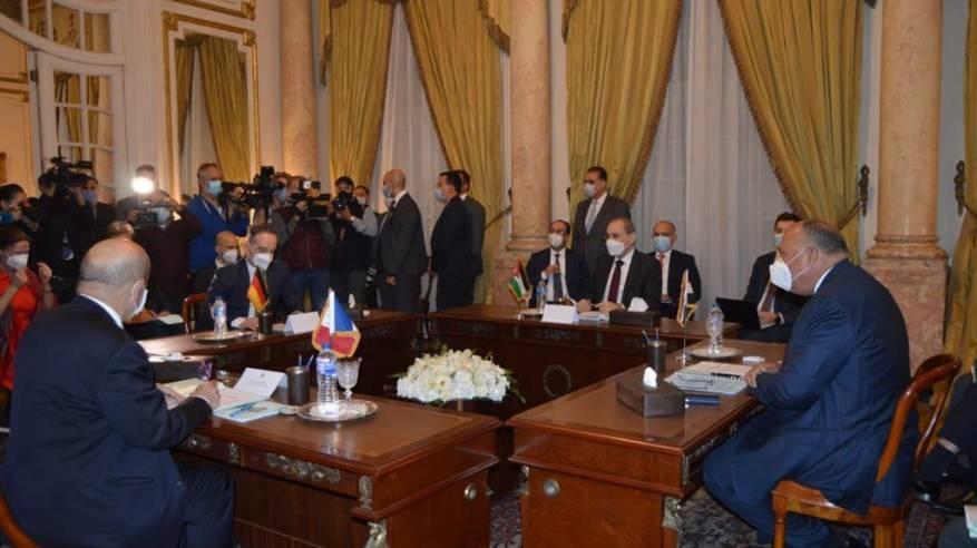 وزراء خارجية مصر والأردن وفرنسا وألمانيا يؤكدون التزامهم بحل الدولتين