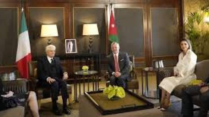 العاهل الأردني والرئيس الإيطالي: نتشارك بموقف واحد تجاه عملية السلام وحل الدولتين