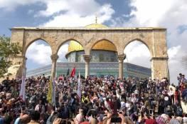 عشرات الآلاف يحيون ذكرى الاسراء والمعراج برحاب الأقصى المبارك