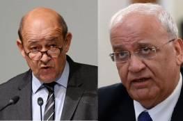 وزير الخارجية الفرنسي في رسالة إلى عريقات: الضم لن يمر دون عواقب على العلاقات بين الاتحاد الأوروبي وإسرائيل