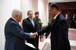 الرئيس يتقبل اوراق اعتماد عدد من السفراء لدى فلسطين