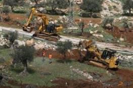الاحتلال يشرع بتجريف 70 دونما من أراضي اماتين شرق قلقيلية