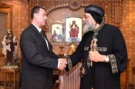 السفير دياب اللوح ينقل رسالة استنكار من الرئيس إلى قداسة البابا تواضروس