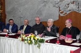 الرئيس يشارك في عشاء الميلاد ويشيد بمواقف البابا فرنسيس والعاهل الاردني الداعمة لقضيتنا