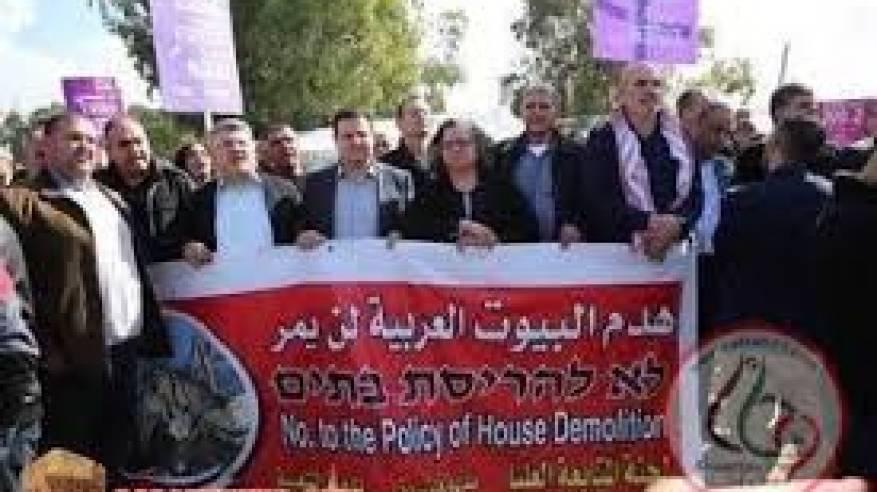 مسيرة حاشدة في قلنسوة بأراضي 48 تنديدا بسياسة هدم المنازل
