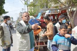 اللجنة الشعبية للاجئين في مخيم دير البلح تواصل حملة التعقيم والتوعية  لليوم السابع على التوالي
