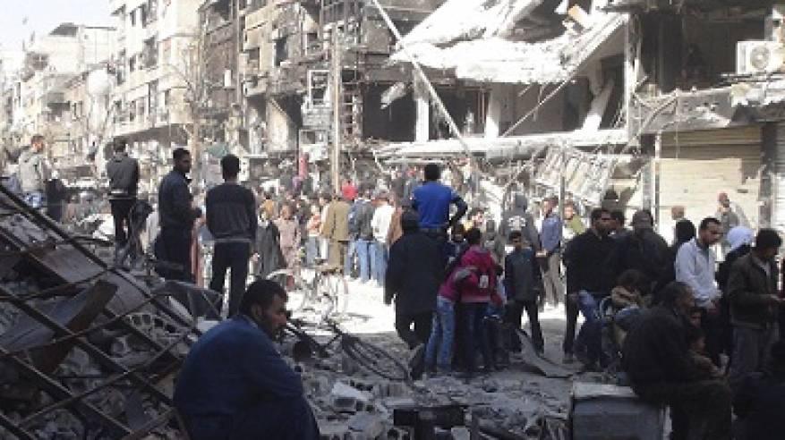 هلع ودمار بمخيم خان الشيح بعد تعرضه للقصفواستمار الاشتبكات في محيطه